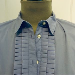 Fitted, Pleated Shirt Banana Republic Pale Blue